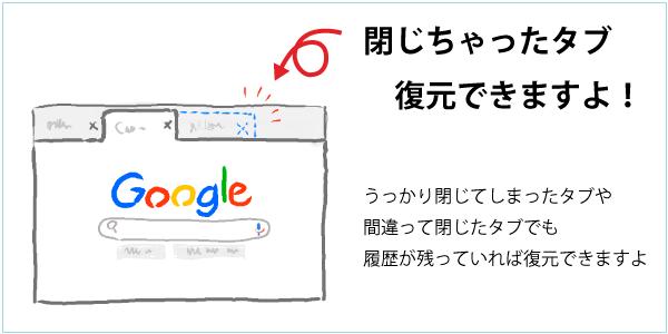 Google Chromeで「最近閉じたタブ」を再度開く方法