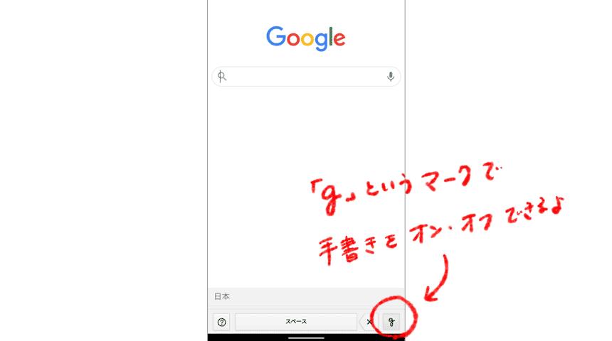 手書き入力はgというマークでオンオフを切り替えられる